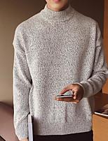 Недорогие -Для мужчин На каждый день Простой Обычный Пуловер Однотонный,Хомут Длинный рукав Японскийхлопок Осень Плотная Слабоэластичная