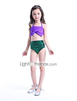 cheap -The Little Mermaid Swimwear Bikini Kid Christmas Masquerade Festival / Holiday Halloween Costumes Purple Solid