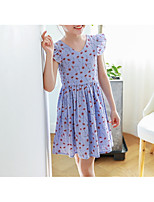 Girl's Casual/Daily Floral Dress,Polyester Winter Fall Sleeveless Simple Blue