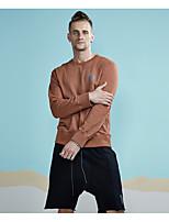preiswerte -Herren Pullover Alltag Sport Freizeit Aktiv Street Schick Solide Rundhalsausschnitt Mikro-elastisch Baumwolle Polyester Langärmelige