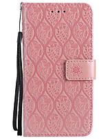 Недорогие -Кейс для Назначение Huawei P9 Lite P10 Lite Кошелек Бумажник для карт со стендом Рельефный Чехол Сплошной цвет Цветы Твердый