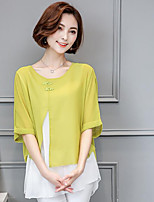 cheap -Women's Going out Work Sexy Chinoiserie Sophisticated Spring Fall Blouse,Color Block Round Neck ½ Length Sleeve Linen Thin