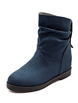economico -Da donna Scarpe Finta pelle Inverno Stivali da equitazione Stivaletti Basso Punta tonda Stivali metà polpaccio per Casual Nero Blu scuro