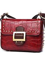 cheap -Women Bags PU Shoulder Bag Beading Zipper for Outdoor Office & Career All Season Brown Blushing Pink Red Black Green