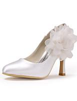 Недорогие -Для женщин Обувь Шёлк Весна Лето Туфли лодочки Свадебная обувь На шпильке Закрытый мыс Аппликация для Свадьба Для вечеринки / ужина Белый
