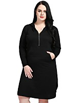cheap -Cute Ann Women's Sports Work Casual Active Street chic Loose Shift T Shirt Dress,Solid Hooded Midi Knee-length Long Sleeve Cotton All Season Fall