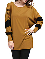 Women's Daily Holiday Street chic Winter Fall T-shirt,Color Block Round Neck Long Sleeve Polyester