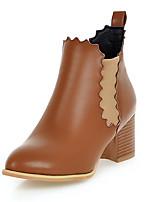Недорогие -Для женщин Обувь Дерматин Зима Осень Модная обувь Ботильоны Ботинки На толстом каблуке Заостренный носок Ботинки для Для праздника Черный
