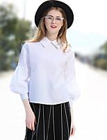 preiswerte -Damen Solide Street Schick Arbeit Hemd,Hemdkragen Frühling Sommer Baumwolle Polyester Mittel