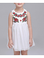 Girl's Going out Casual/Daily Solid Floral Dress,Cotton Summer Sleeveless Street chic White