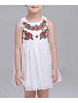 Menina de Vestido Para Noite Casual Sólido Floral Verão Algodão Sem Manga Moda de Rua Branco
