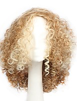 Synthetic Wig Short Kinky Curly Light Gold Color Party Wig Halloween Wig Cosplay Wig Costume Wigs for Women