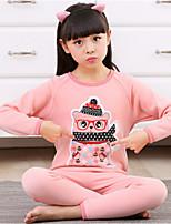 Недорогие -Девочки Пижамы Длинные рукава Мультяшная тематика Красный Розовый Пурпурный