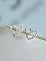 cheap -Women's Stud Earrings , Sweet Lovely Fashion Silver Heart Jewelry Wedding Party