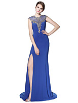 Mermaid / Trumpet Jewel Neck Court Train Linen Prom Formal Evening Dress with Beading Appliques by Sarahbridal