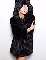 Недорогие -Для женщин Повседневные Зима Пальто с мехом Капюшон,Уличный стиль Леопард Длинная Длинные рукава,Другое