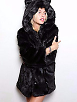 cheap -Women's Daily Street chic Winter Fur Coat,Leopard Hooded Long Sleeve Long Others