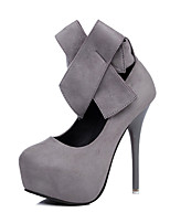 cheap -Women's Shoes Leatherette Spring Fall Basic Pump Heels Stiletto Heel Round Toe Bowknot for Wedding Party & Evening Gray Black
