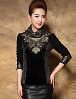 cheap -Women's Party/Cocktail Work Boho Sophisticated Winter All Seasons T-shirt,Geometric Turtleneck Long Sleeve Others Medium