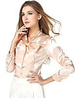cheap -Women's Holiday Going out Cute Active Street chic All Seasons Blouse,Solid V Neck Long Sleeve Polyester Medium