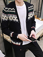cheap -Men's Casual/Daily Regular Cardigan,Print V Neck Long Sleeves Others Fall Medium Micro-elastic
