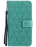 cheap -Case For Motorola MOTO G5 Plus MOTO G5 Card Holder Wallet with Stand Embossed Full Body Cases Solid Color Flower Hard PU Leather for Moto