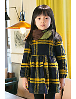 cheap -Girl's Holiday Casual/Daily Checks Dress,Cotton Polyester Winter Long Sleeves Simple Yellow