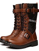 cheap -Men's Shoes Patent Leather Winter Fall Fashion Boots Motorcycle Boots Boots Mid-Calf Boots for Casual Party & Evening Brown