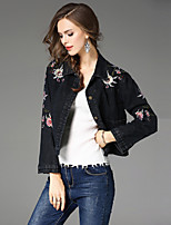 cheap -Women's Daily Street chic Fall Denim Jacket,Print Shirt Collar Long Sleeve Regular Cotton