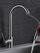 cheap -Contemporary Pull-out/Pull-down Vessel Rotatable Ceramic Valve Single Handle One Hole Nickel Brushed , Kitchen faucet