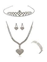 abordables -Mujer Tiaras Los sistemas nupciales de la joyería Cristal Europeo Moda Boda Fiesta Diamante Sintético Legierung Corazón Joyería de Cuerpo