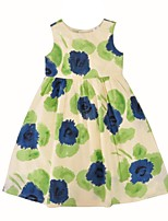 cheap -Girl's Daily Going out Floral Dress,Cotton Summer Sleeveless Cute Active Beige