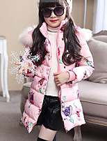 cheap -Girls' Daily Floral Down & Cotton Padded,Cotton Polyester Long Sleeves Cute Casual Blushing Pink Blue