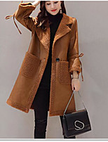 cheap -Women's Casual/Daily Simple Winter Fall Fur Coat,Solid Shirt Collar ¾ Sleeve Long Others