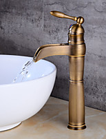 cheap -Antique Centerset Waterfall Ceramic Valve Single Handle One Hole Antique Copper , Bathroom Sink Faucet