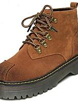 abordables -Mujer Zapatos PU microfibra sintético Invierno Botas de Combate Botas Tacón Bajo Dedo redondo Mitad de Gemelo para Casual Negro Marrón