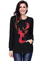 cheap -Women's Daily Casual Winter Fall T-shirt,Print Round Neck Long Sleeve Polyester