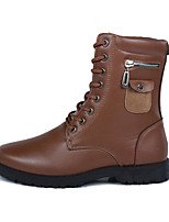 Men's Shoes PU Winter Fall Comfort Combat Boots Boots Mid-Calf Boots for Casual Brown Black