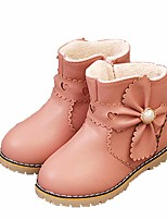 cheap -Girls' Shoes PU Winter Fall Comfort Boots Bowknot Imitation Pearl for Casual Pink Red