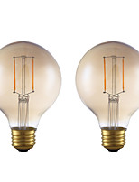 cheap -2pcs 2W 180lm E26 LED Filament Bulbs G25 2 LEDs COB Dimmable Decorative LED Lights Warm White 2200K AC 110-130V