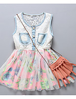 Girl's Going out Floral Dress,Cotton Summer Sleeveless Boho White