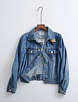 cheap -Women's Daily Casual Winter Fall Denim Jacket,Solid Shirt Collar Long Sleeve Short Cotton