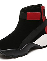 cheap -Women's Shoes Synthetic Microfiber PU Winter Combat Boots Boots Low Heel Round Toe Mid-Calf Boots for Casual Black/Red Black/White