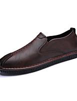 Недорогие -Для мужчин обувь Дерматин Весна Осень Удобная обувь Мокасины и Свитер для Повседневные Черный Коричневый