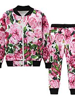 Girls' Floral Clothing Set,Cotton Rayon Spring Fall Simple Active Red