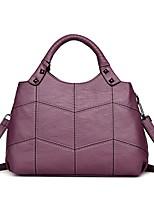 cheap -Women Bags PU Tote Ruffles Zipper for Casual Office & Career All Season Purple Red