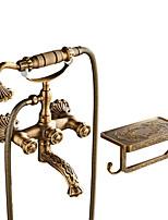 Недорогие -Античный По центру Широко распространенный Керамический клапан Две ручки двумя отверстиями Античная медь , Смеситель для душа