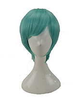 cheap -Women Synthetic Wig Medium Length Straight Green With Bangs Party Wig Cosplay Wig Costume Wig