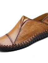 abordables -Hombre Zapatos Cuero Primavera Otoño Mocasín Zapatos de taco bajo y Slip-On para Casual Negro Amarillo Marrón