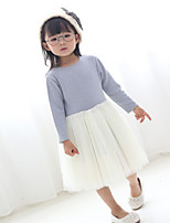 Girl's Holiday Solid Dress,Polyester Fall Long Sleeves Active Blue Blushing Pink